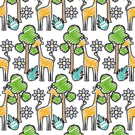 doodle giraffe with tree leaves and flower background vector illustration
