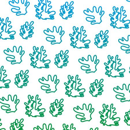 Ligne dégradée d'algues exotiques nature plante background vector illustration Vecteurs