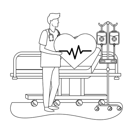 healthcare medical dotor man holding heart rate icon cartoon vector illustration graphic design