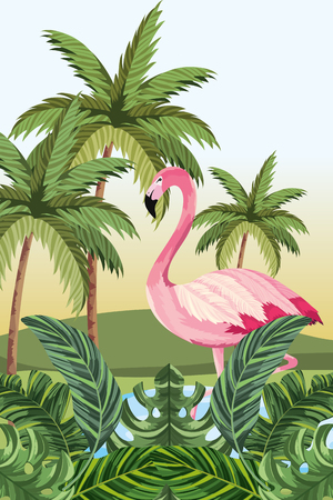 tropical flamingo at nature lake with palms cartoon vector illustration graphic design