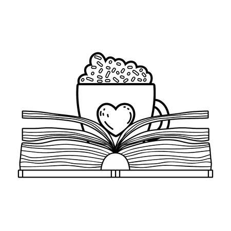 text book with coffee cup day celebration vector illustration design  イラスト・ベクター素材