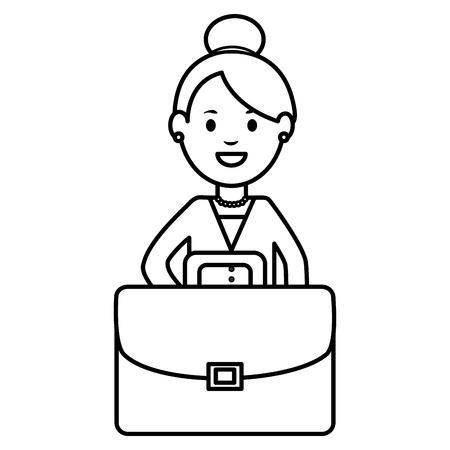 young businesswoman with portfolio vector illustration design Vetores