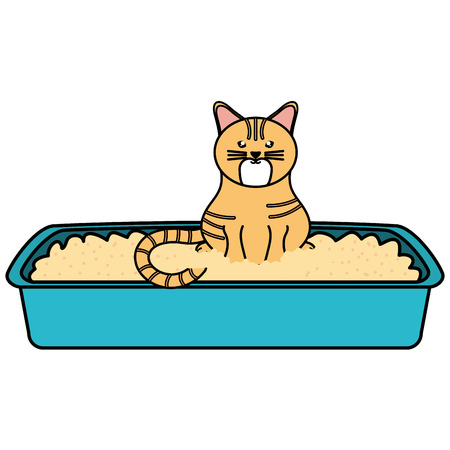 cute little cat in sand box character Illustration