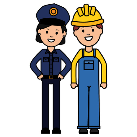 female police officer with builder