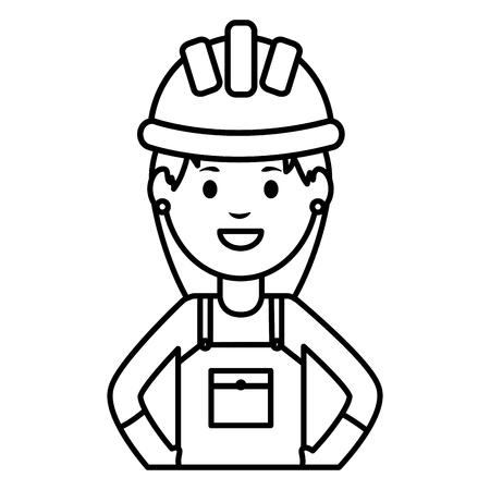 female builder worker with helmet