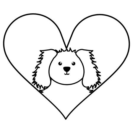 cute little dog pet with heart love