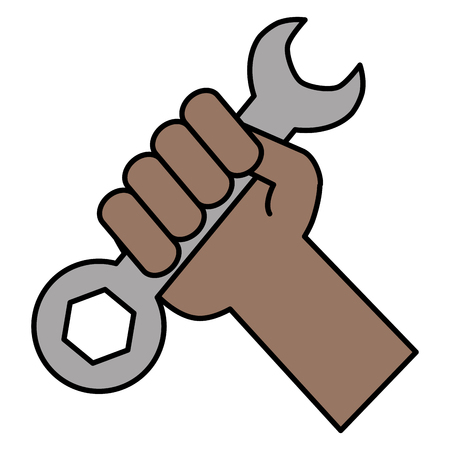 hand with wrench key tool vector illustration design Stock Illustratie