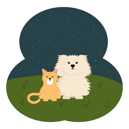 cute little cat and dog in the field Illustration