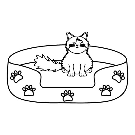 cute little cat in bed character Illustration