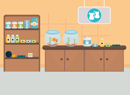 pet shop place with aquariums and products vector illustration design