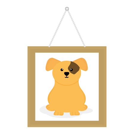 cute little dog in picture hanging Ilustrace