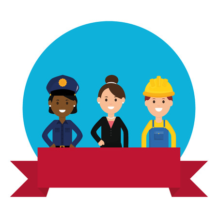 group of professionals workers vector illustration design
