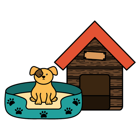 cute little dog in wooden house character