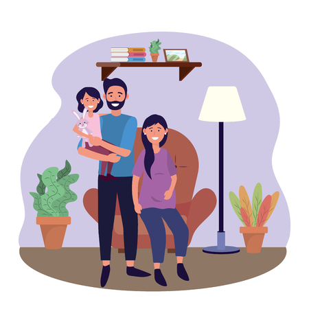 man and woman pregnant in the chair with daughter vector illustration
