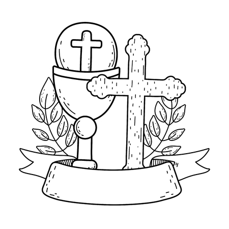 sacred chalice with cross vector illustration design