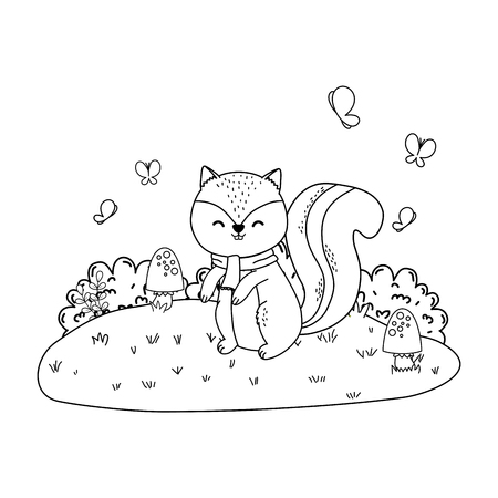 cute chipmunk in the field woodland character vector illustration design