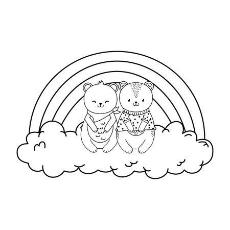 cute animals in the clouds with rainbow woodland characters vector illustration