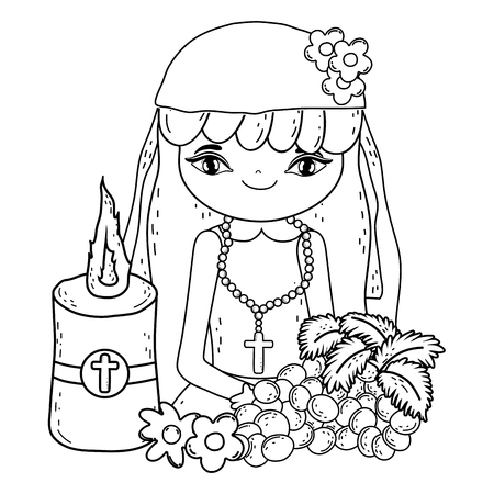 little girl with grapes fruits in communion celebration