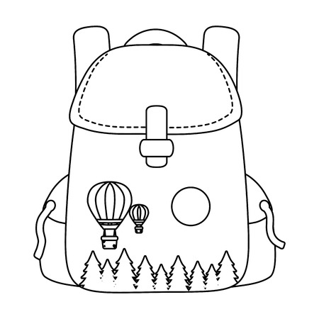 outdoor camping backpack with elements cartoon vector illustration graphic design