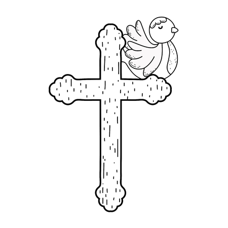 cute doves birds with cross