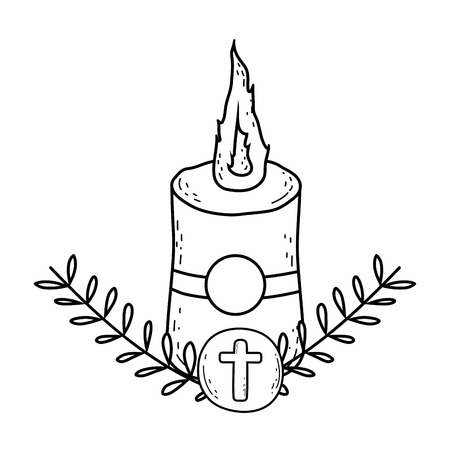 Paschal candle sacred icon vector illustration design