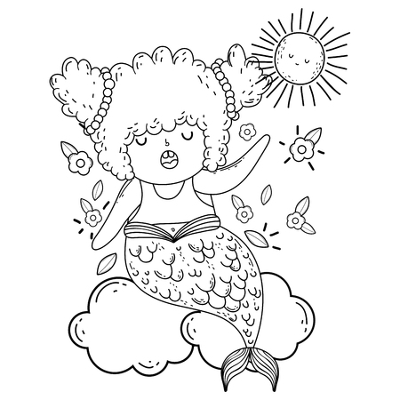 beautiful mermaid in clouds fairytale character