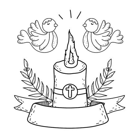 Paschal candle sacred with doves birds Vektorové ilustrace