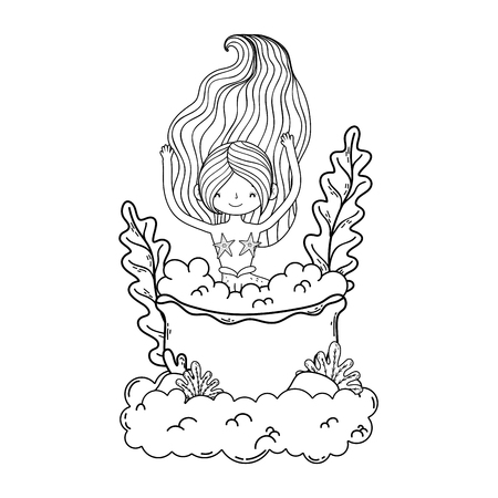 beautiful mermaid with tub in clouds Vectores