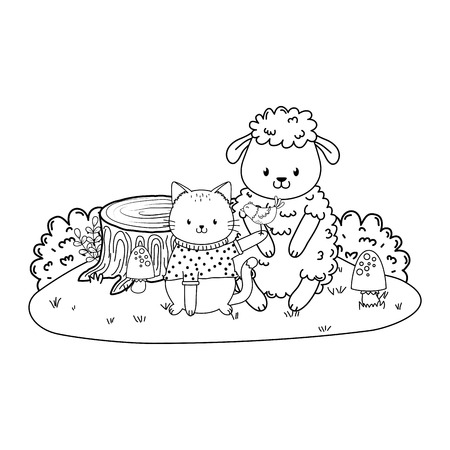 cute animals in the field woodland characters vector illustration design Vectores