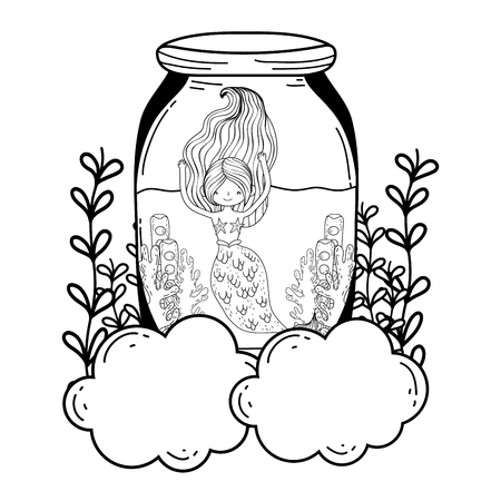 beautiful mermaid in clouds fairytale character