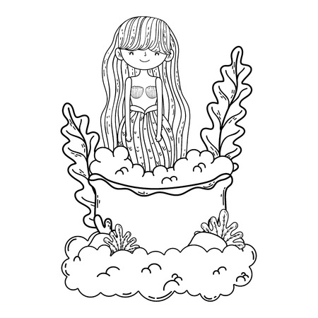 beautiful mermaid with tub in clouds Ilustrace