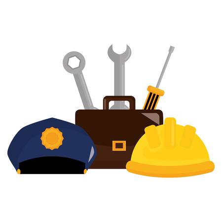 builder helmet with police hat and tools vector illustration design Illustration
