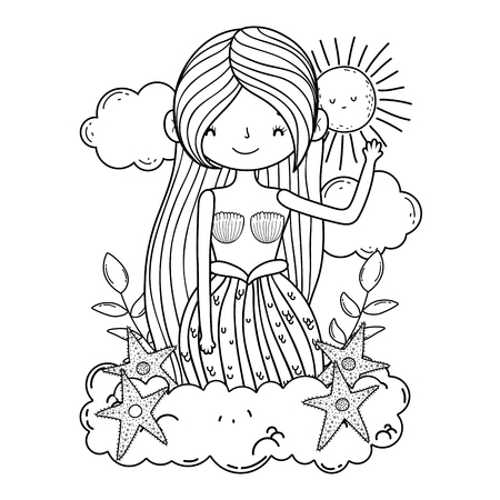 beautiful mermaid with starfishes in clouds vector illustration design Vecteurs