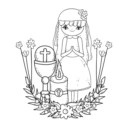 little girl with candle in first communion celebration vector illustration design