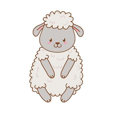 cute sheep woodland character vector illustration design Foto de archivo - 124010708