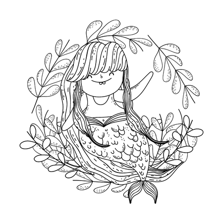 beautiful mermaid with leafs crown Vectores