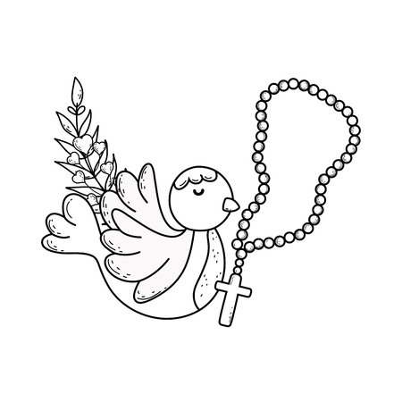 cute dove bird with rosary