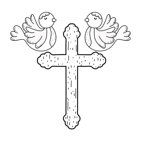 cute doves birds with cross Banque d'images - 120274900