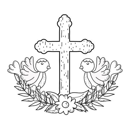 colombes mignonnes oiseaux avec croix
