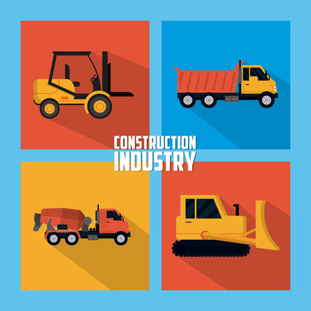 Set of construction square icons collection vector illustration graphic design
