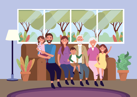 grandparents with woman and man with kids in the sofa Illustration