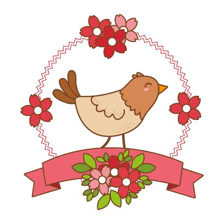 cute little animal bird ribbon banner cartoon vector illustration graphic design Vektorové ilustrace