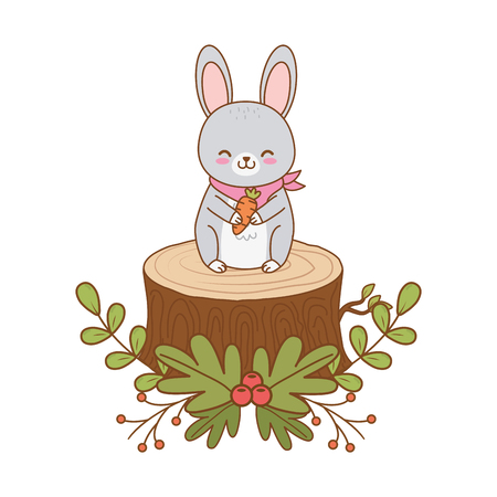 cute rabbit in trunk woodland character vector illustration design