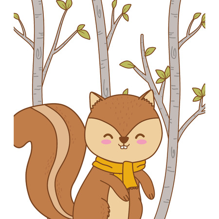 cute chipmunk woodland character vector illustration design Vectores