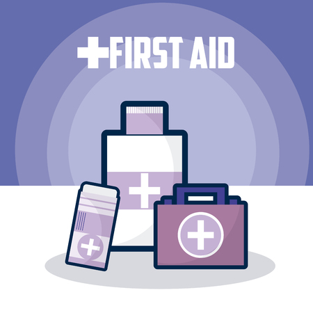 First aid medicine bottles and suitcase vector illustration graphic design