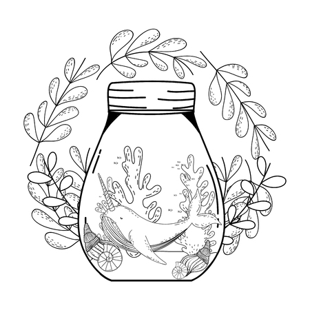 cute narval in mason jar with wreath flowers vector illustration design Vectores
