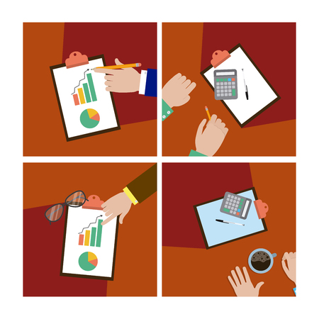 Teamwork and support set of cards vector illustration graphic design Illustration