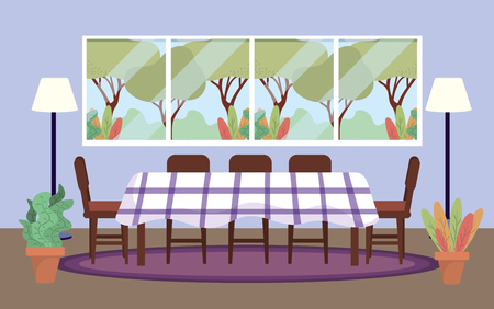 diving room with table and plants decoration Illustration
