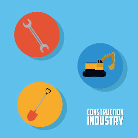 Set of construction round icons collection vector illustration graphic design
