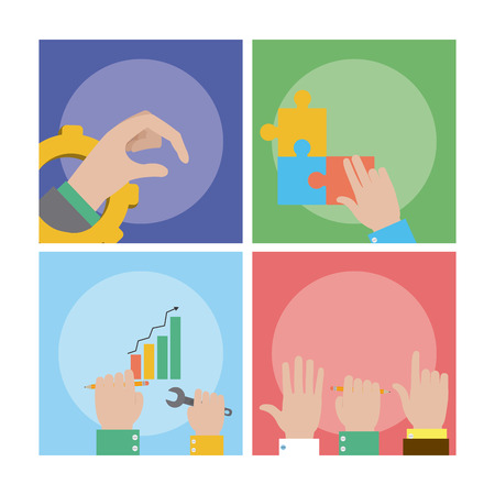 Teamwork and support set of cards vector illustration graphic design Illustration